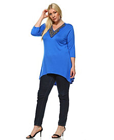 White Mark Plus Size Tonya Top/Tunic