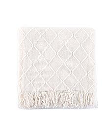 "Battilo Home Knit Diamond Patterned Throw, 80"" X 52"""