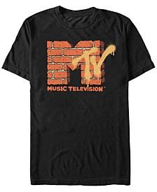 MTV Men's Yellow And Orange Brick Logo Short Sleeve T-Shirt