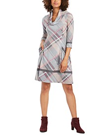 Petite Plaid Cowlneck Sweater Dress