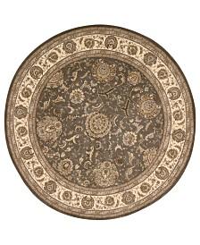 Nourison Round Area Rug, Wool & Silk 2000 2206 Slate 6'