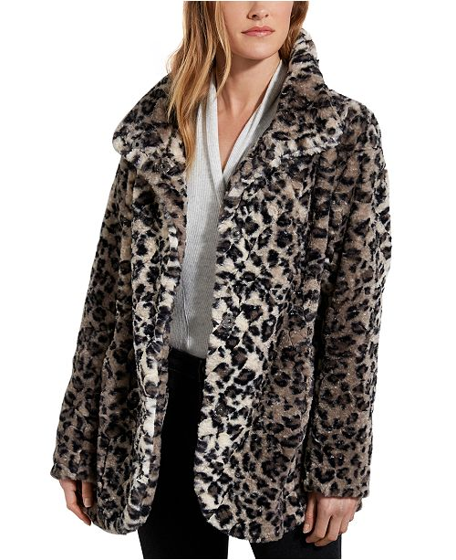 Karen Kane Leopard-Print Faux-Fur Jacket