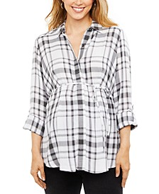 Maternity Plaid Cotton Shirt