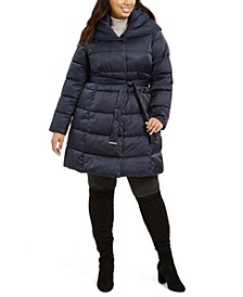 Plus Size Hooded Belted Down Puffer Coat