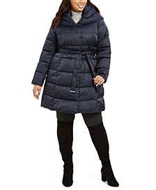 Tahari Plus Size Hooded Belted Down Puffer Coat