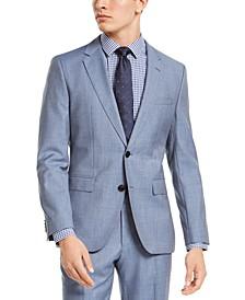 HUGO Hugo Boss Men's Slim-Fit Light Blue Stepweave Suit Jacket