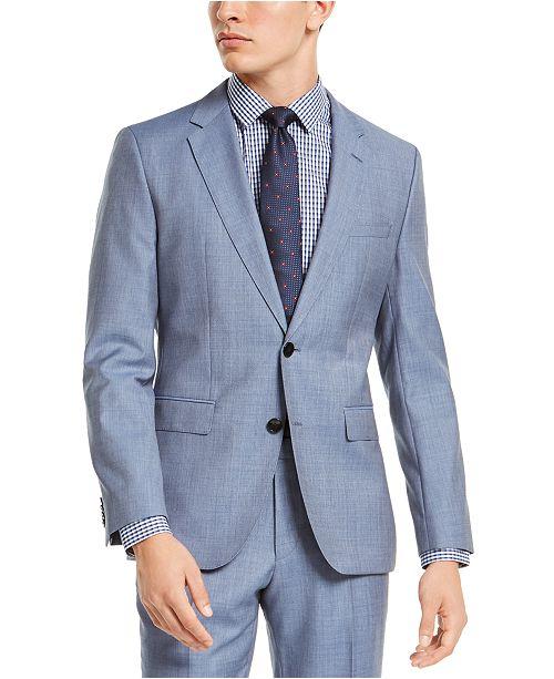 HUGO HUGO Hugo Boss Men's Slim-Fit Light Blue Stepweave Suit Jacket