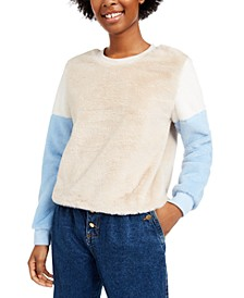 Juniors' Colorblocked Plush Pullover