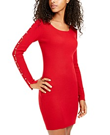 Juniors' Split-Sleeve Bodycon Sweater Dress
