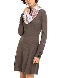 Juniors' Striped Scarf & Sweater Dress