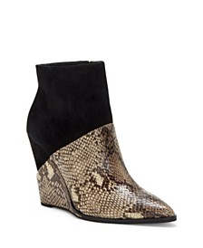 Jessica Simpson Huntera Mixed Material Wedge Booties