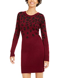 Juniors' Cheetah-Print Sweater Dress