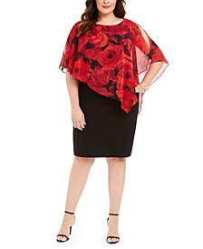 Plus Size Asymmetrical-Overlay A-Line Dress