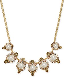 "Gold-Tone Crystal, Stone & Imitation Pearl Statement Necklace, 17"" + 2"" extender, Created For Macy's"
