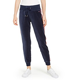 Tommy Hilfiger Velour Logo-Tape Jogger Pants