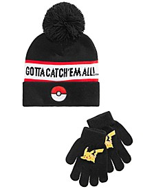Big Boys 2-Pc. Pokémon Hat & Gloves Set