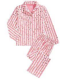Little & Big Girls 2-Pc. Heart-Print Striped Fleece Pajama Set