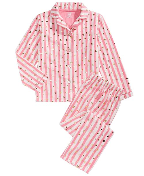 Max & Olivia Little & Big Girls 2-Pc. Heart-Print Striped Fleece Pajama Set