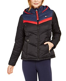 Varsity Chevron Hooded Puffer Jacket