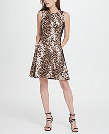 Scuba Colorblock Animal Print Fit  Flare Dress