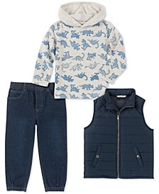 Little Boys 3-Pc. Navy Nylon Vest, Cream Dino Print Jersey Hoodie & Denim Jogger Pants Set