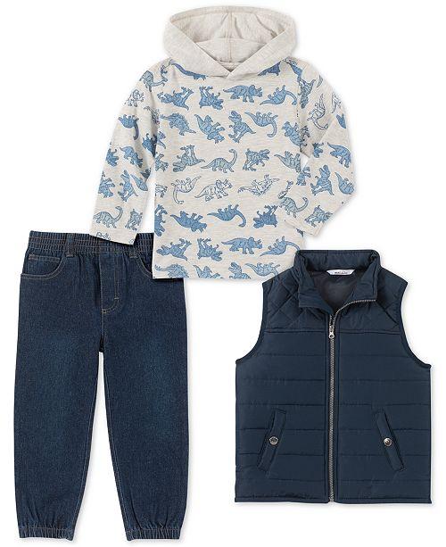 Kids Headquarters Toddler Boys 3-Pc. Navy Nylon Vest, Cream Dino Print Jersey Hoodie & Denim Jogger Pants Set