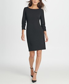 DKNY Ruched Sleeve Sheath Dress