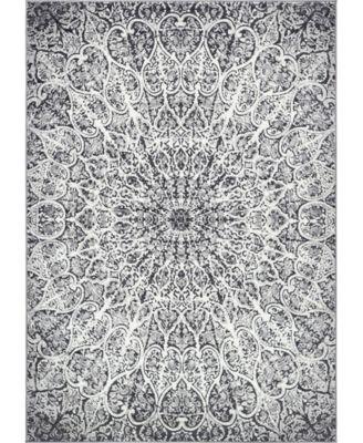 Basha Bas4 Dark Gray 6' x 9' Area Rug