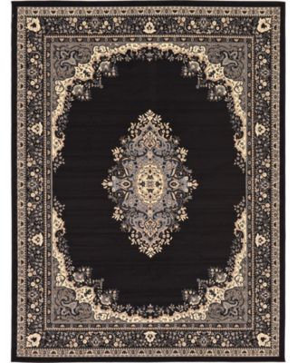 Birsu Bir1 Black 8' x 8' Square Area Rug