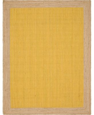 Braided Jute A Bja4 Yellow 8' x 8' Round Area Rug