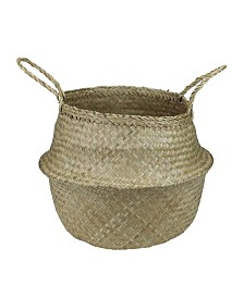 Northlight Seagrass Wide Belly Wicker Basket with Handles