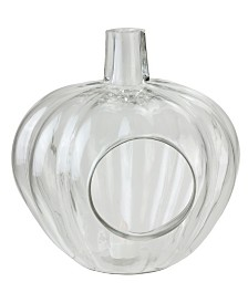 Northlight Transparent Glass Pumpkin Shaped Decorative Pillar Candle Holder