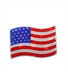 LED Lighted Patriotic American Flag Window Silhouette