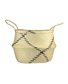 Northlight Seagrass Belly Basket with Designs and Handles