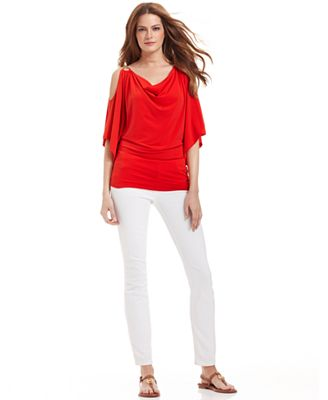 MICHAEL Michael Kors Split-Sleeve Top & Skinny White Jeans - Women ...