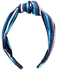 Blue Stripe Top Knot Hard Headband