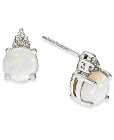 Opal (1-1/5 ct. t.w.) & Diamond (1/20 ct. t.w.) Stud Earrings in 14k White Gold