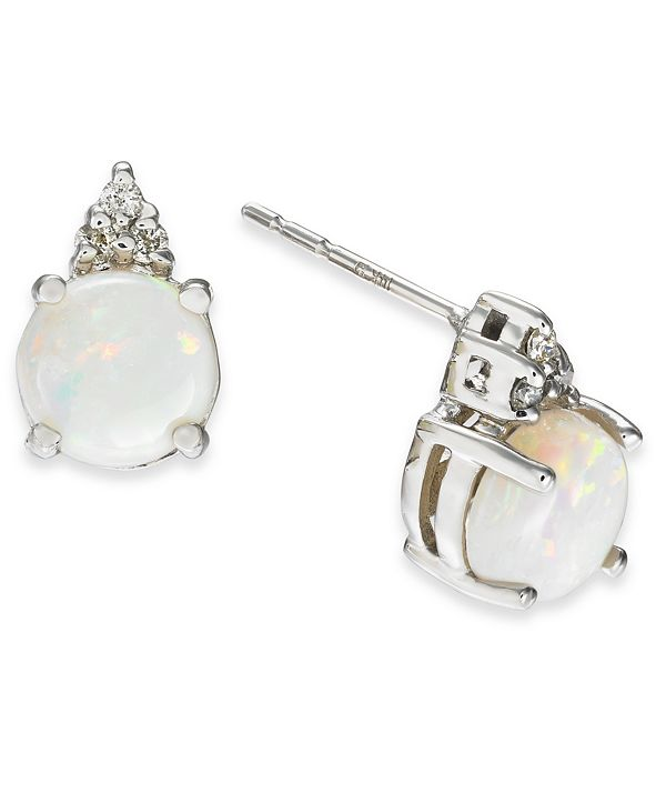 Macy's Opal (1-1/5 ct. t.w.) & Diamond (1/20 ct. t.w.) Stud Earrings in 14k White Gold
