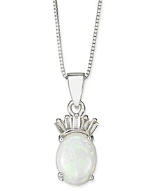 "Opal (3/4 ct. t.w.) & Diamond (1/20 ct. t.w.) 18"" Pendant Necklace in  14k White Gold"