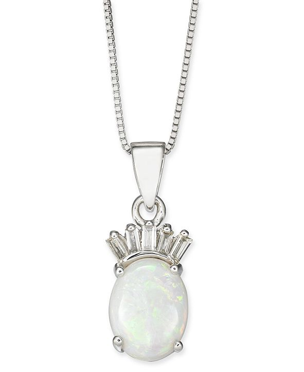 "Macy's Opal (3/4 ct. t.w.) & Diamond (1/20 ct. t.w.) 18"" Pendant Necklace in  14k White Gold"