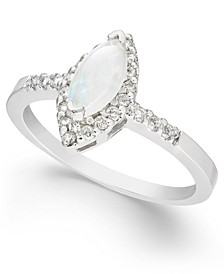 Opal (1/3 ct. t.w.) & Diamond (1/5 ct. t.w.) Marquise Ring in 14k White Gold
