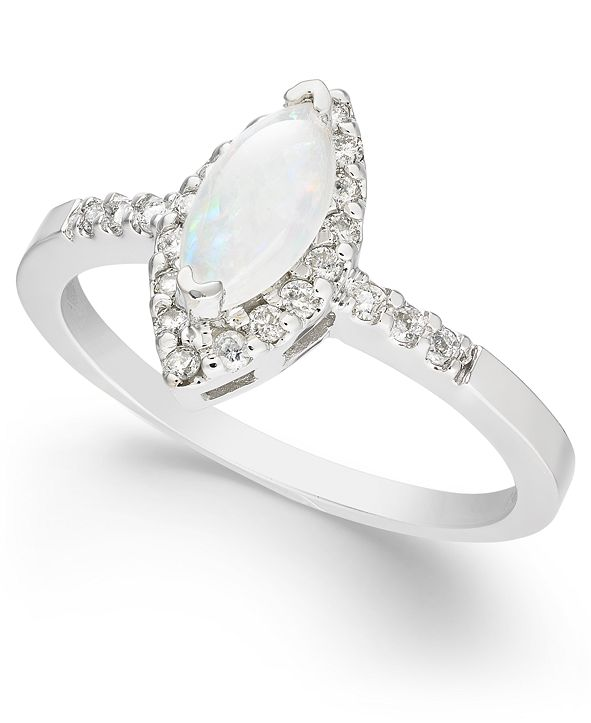 Macy's Opal (1/3 ct. t.w.) & Diamond (1/5 ct. t.w.) Marquise Ring in 14k White Gold