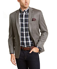 Luxury Wool/Cashmere-Blend Classic-Fit Herringbone Sport Coat