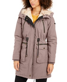 Lucky Brand Hooded Faux-Fur-Trim Anorak Coat