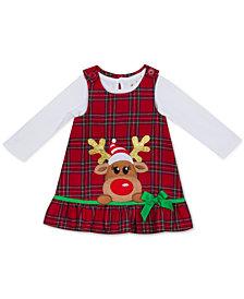 Rare Editions Baby Girls 2-Pc. Bodysuit & Plaid Reindeer Jumper Set