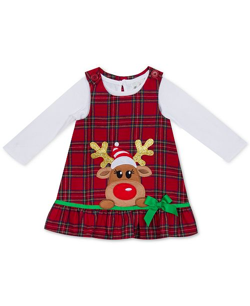 Rare Editions Baby Girls 2-Pc. Bodysuit & Plaid Reindeer Jumper Set