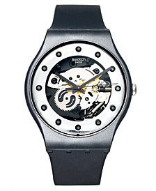 Swatch Watch, Unisex Swiss Silver Glam Black Silicone Strap 41mm SUOZ147