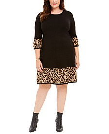 Plus Size Solid & Animal-Print Sweater Dress