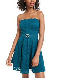 Juniors' Strapless Lace A-Line Dress