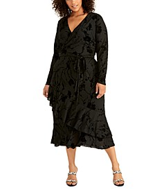 Trendy Plus Size Flocked Jersey Crossover Dress